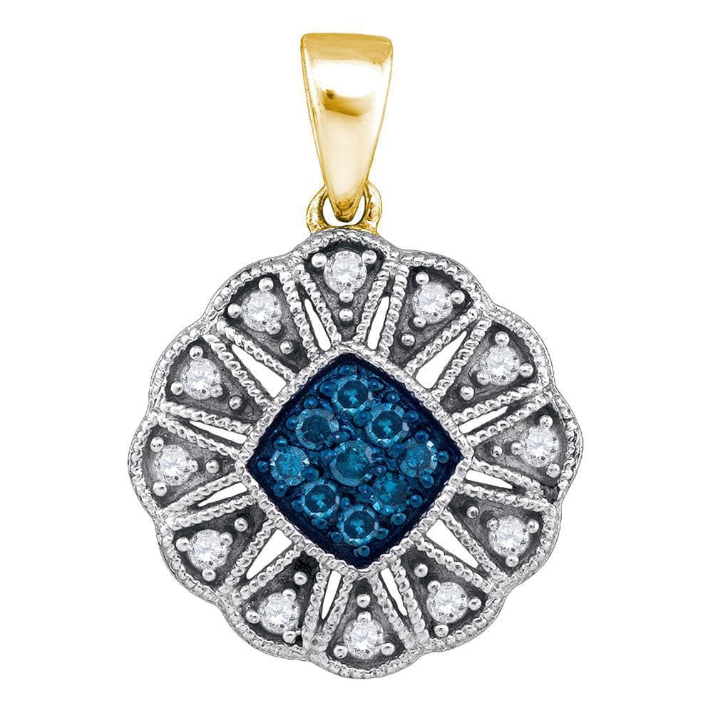 10kt Yellow Gold Womens Round Blue Color Enhanced Diamond Fashion Pendant 1/5 Cttw