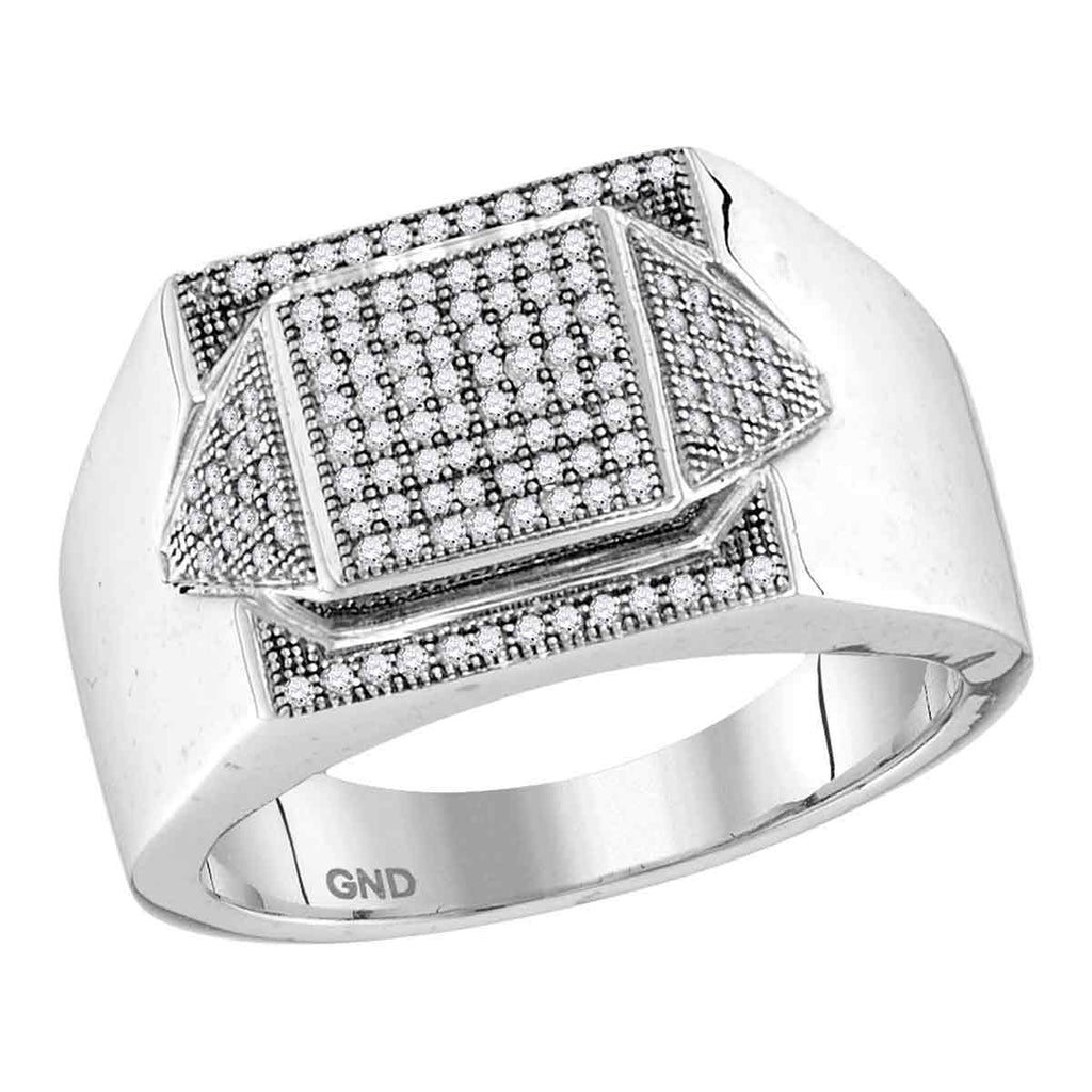 10kt White Gold Mens Round Diamond Elevated Square Cluster Ring 1/3 Cttw