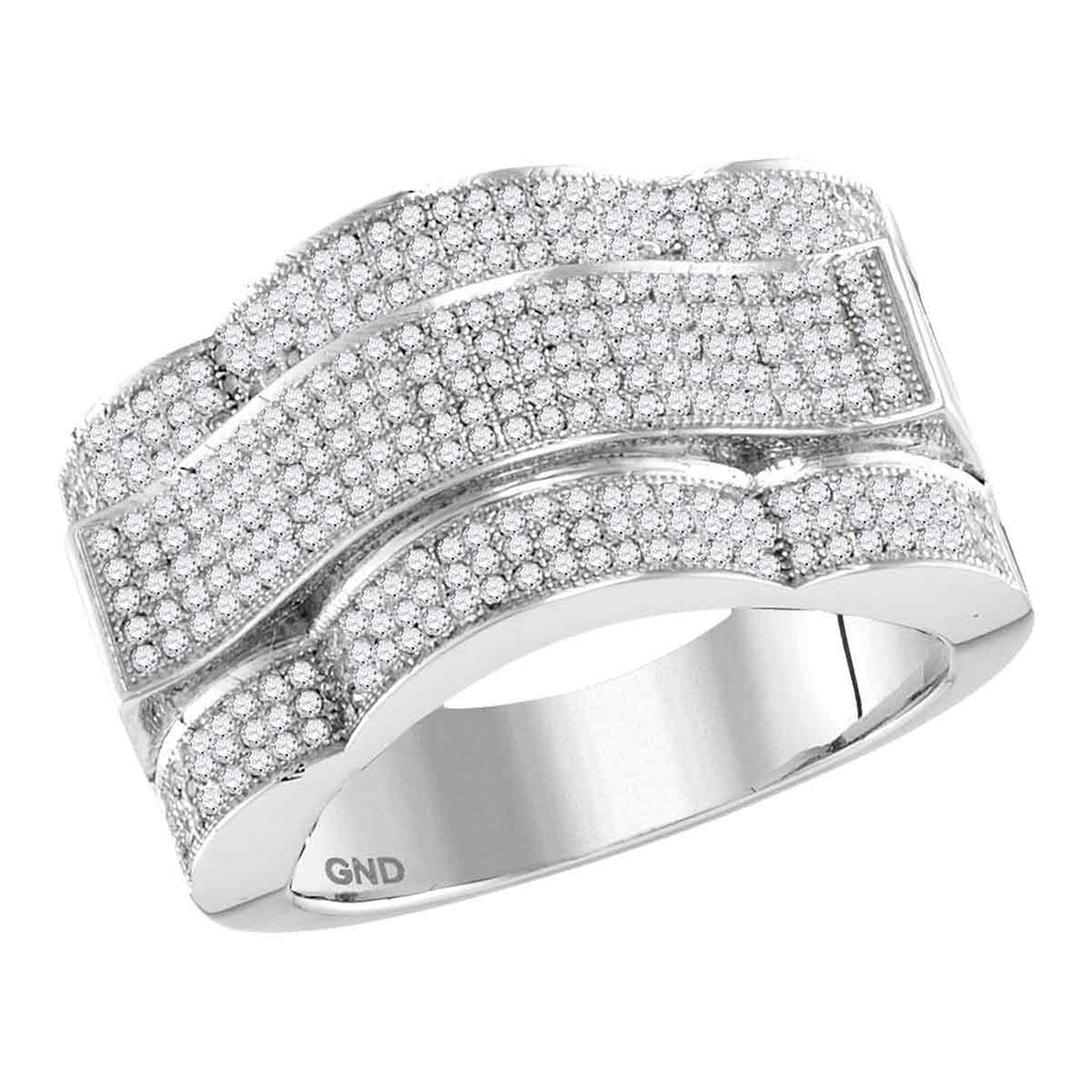 10kt White Gold Mens Round Diamond Domed Rectangle Cluster Ring 1.00 Cttw