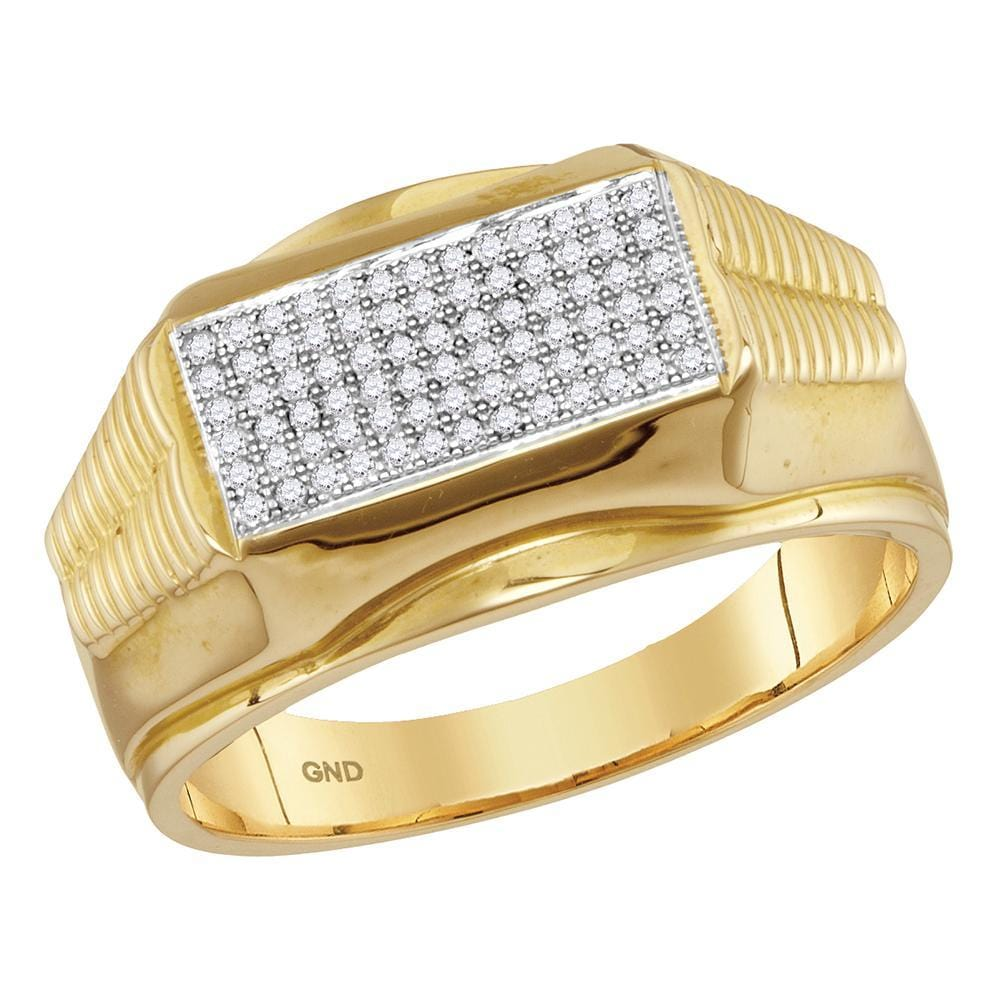 10kt Yellow Gold Mens Round Diamond Rectangle Cluster Ribbed Edge Ring 1/4 Cttw