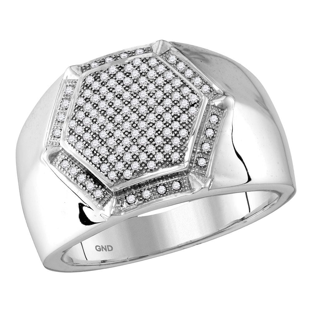 10kt White Gold Mens Round Diamond Hexagon Frame Cluster Ring 3/8 Cttw