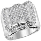10kt White Gold Mens Round Diamond Symmetrical Domed Cluster Ring 5/8 Cttw