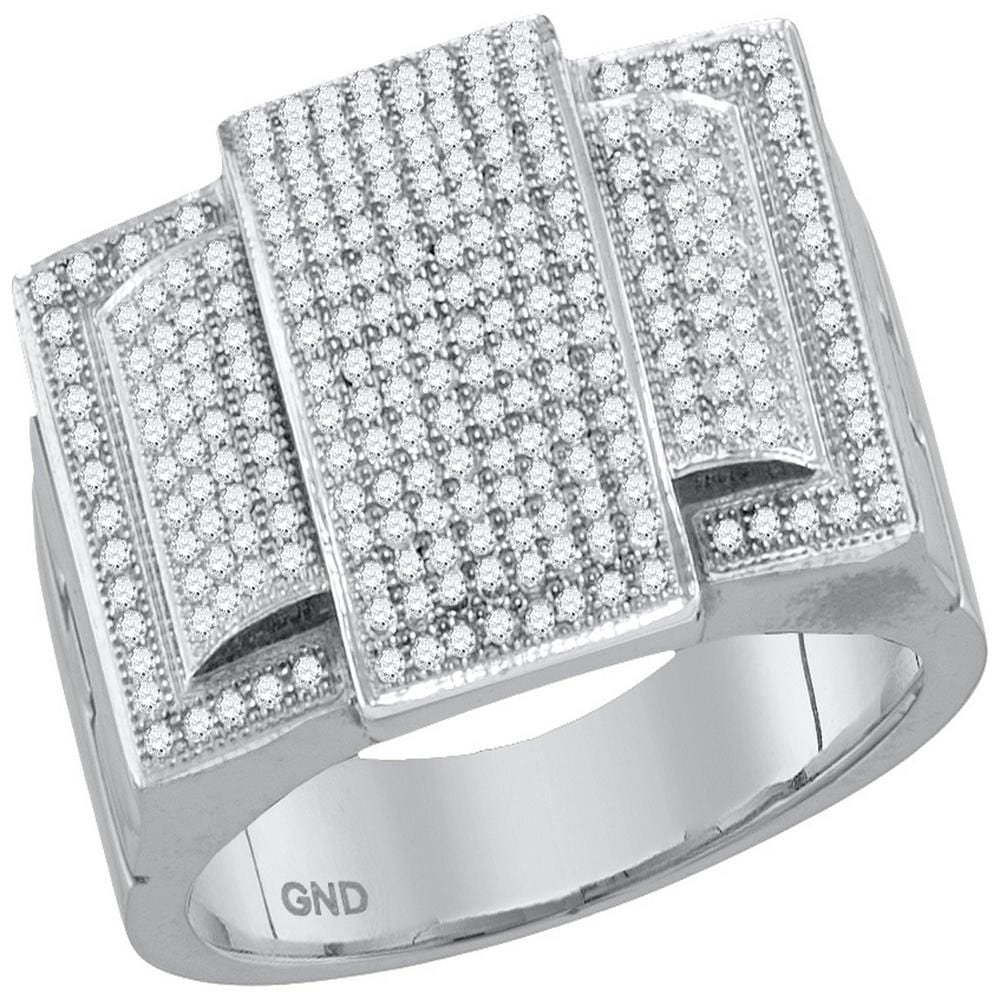 10kt White Gold Mens Round Diamond Rectangle Elevated Cluster Ring 3/4 Cttw