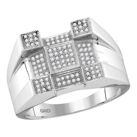 10kt White Gold Mens Round Diamond Square Corner Cluster Ring 3/8 Cttw