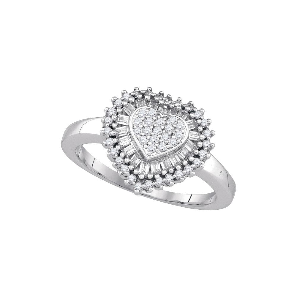 Sterling Silver Womens Round Diamond Heart Frame Cluster Ring 1/2 Cttw