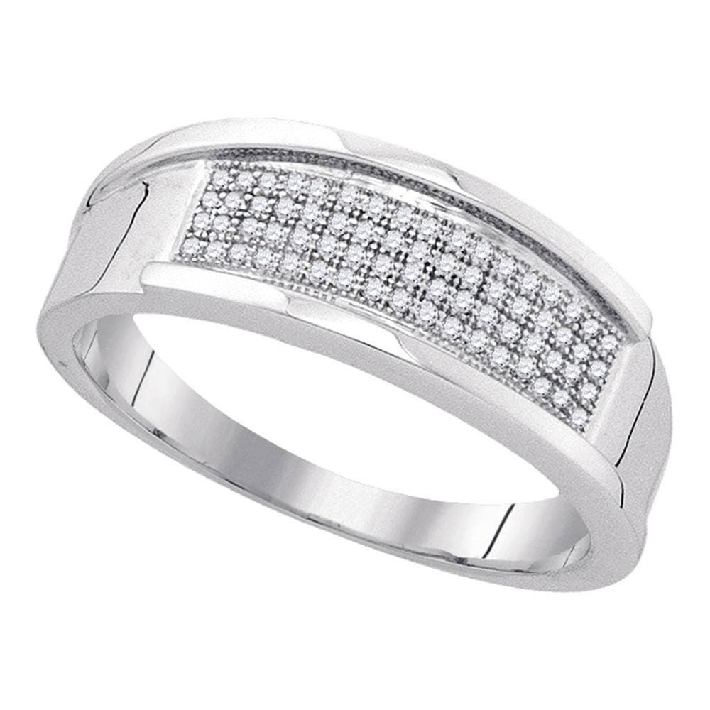 Sterling Silver Mens Round Diamond Wedding Four Row Band Ring 1/5 Cttw