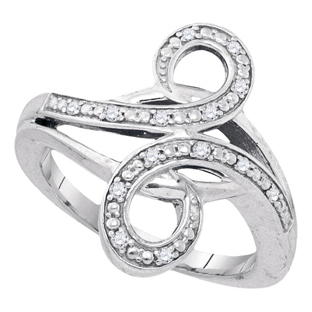 Sterling Silver Womens Round Diamond Bypass Curl Band Ring 1/8 Cttw