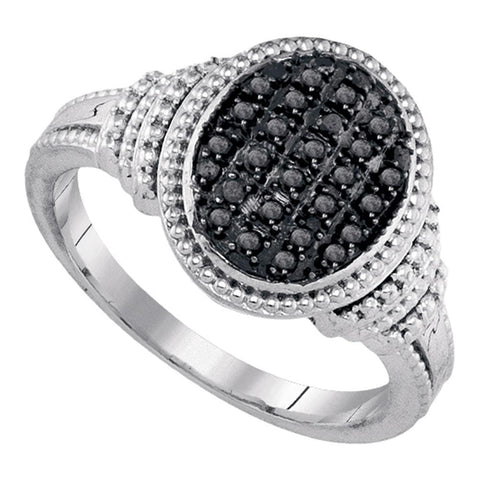 Sterling Silver Womens Round Black Color Enhanced Diamond Oval Cluster Ring 1/4 Cttw