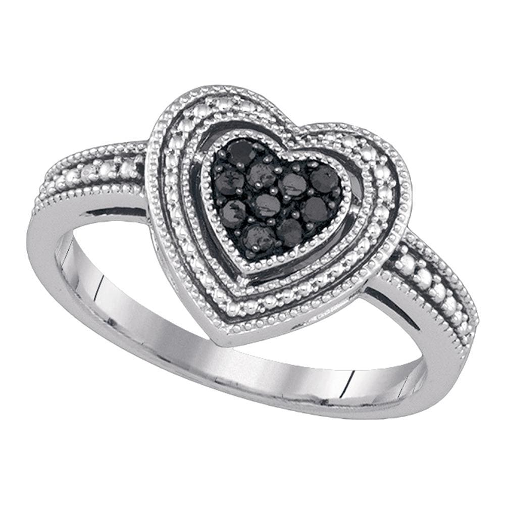 Sterling Silver Womens Round Black Color Enhanced Diamond Milgrain Heart Cluster Ring 1/4 Cttw