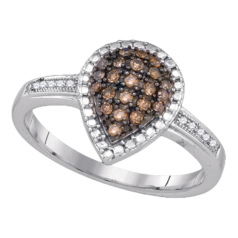 Sterling Silver Womens Round Brown Color Enhanced Diamond Teardrop Cluster Ring 1/5 Cttw