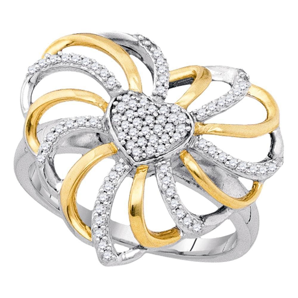 Sterling Silver Two-tone Womens Round Diamond Openwork Heart Ring 1/4 Cttw
