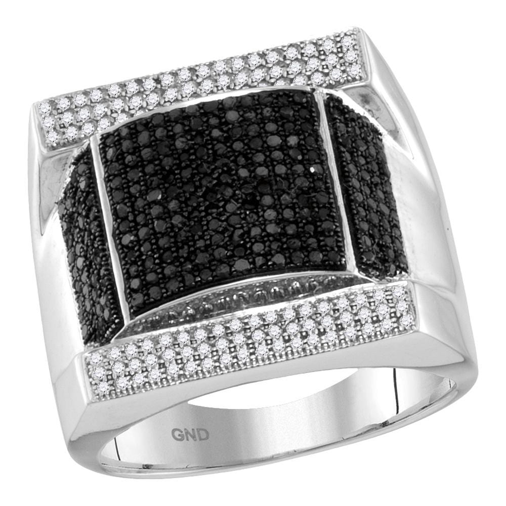 10kt White Gold Mens Round Black Color Enhanced Diamond Domed Rectangle Cluster Ring 1-1/12 Cttw
