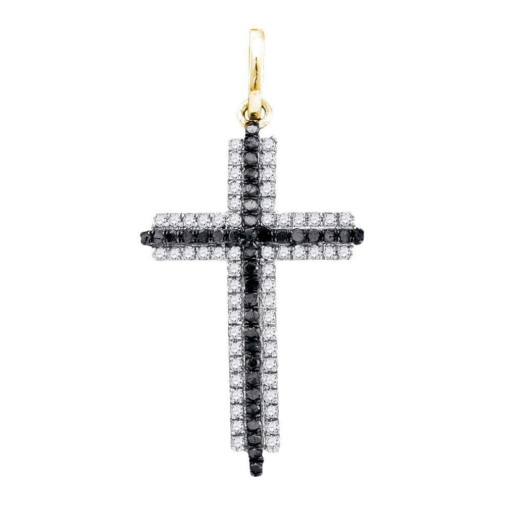 10kt Yellow Gold Womens Round Black Color Enhanced Diamond Cross Pendant 1/4 Cttw
