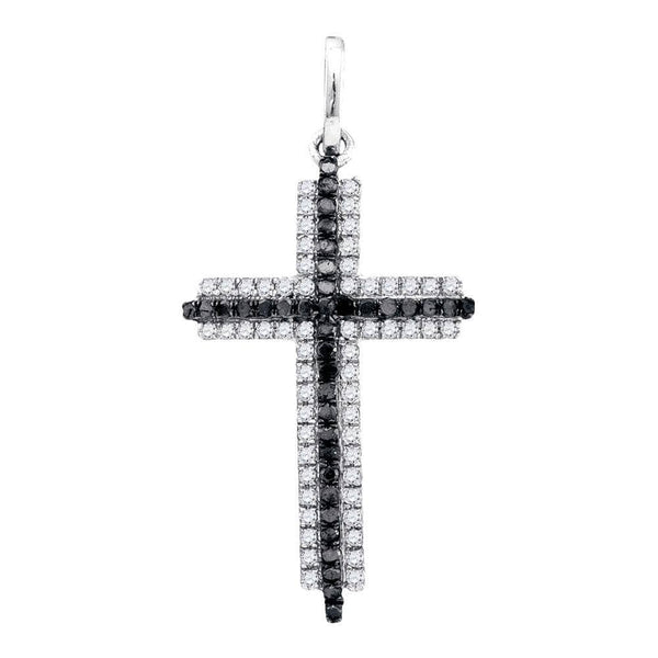 10kt White Gold Womens Round Black Color Enhanced Diamond Cross Faith Pendant 1/4 Cttw