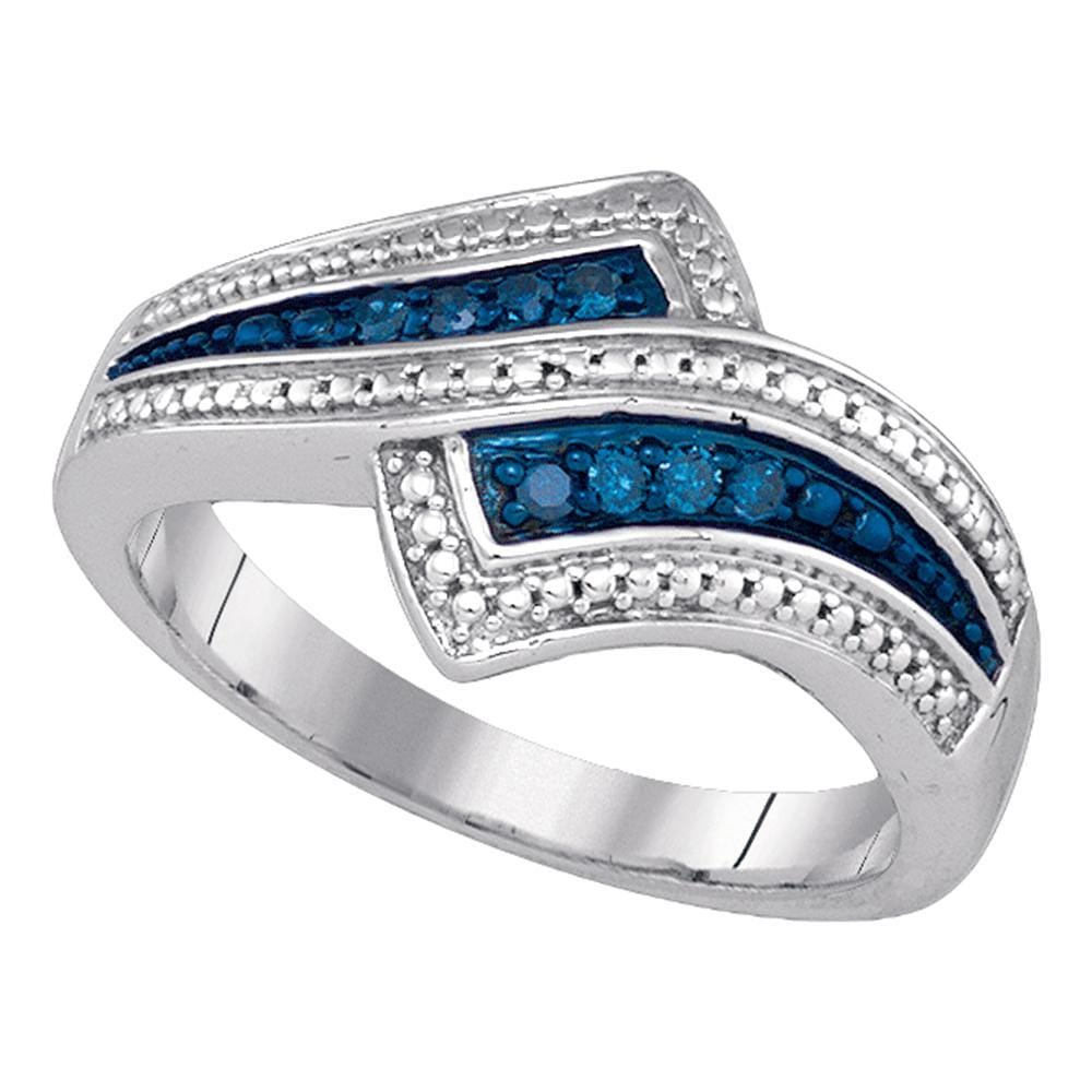 Sterling Silver Womens Round Blue Color Enhanced Diamond Bypass Milgrain Band Ring 1/10 Cttw