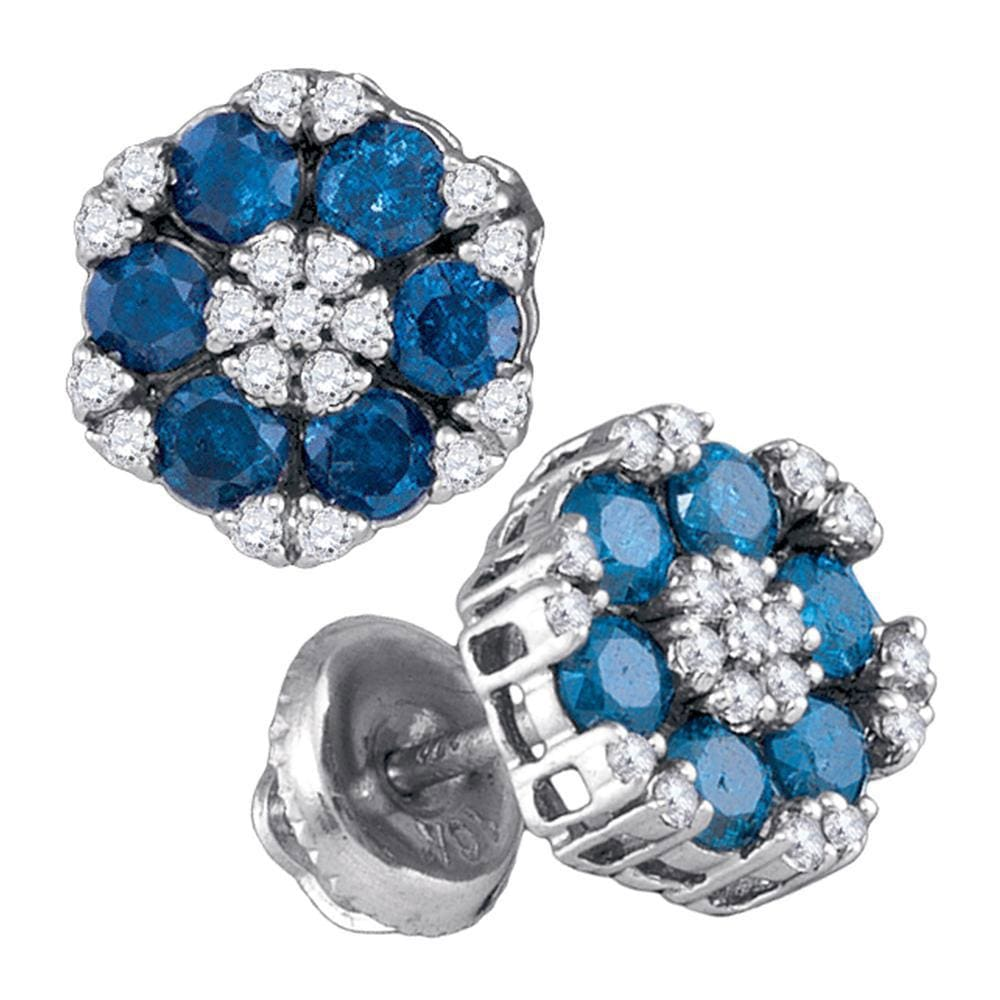 10kt White Gold Womens Round Blue Color Enhanced Diamond Cluster Screwback Earrings 1.00 Cttw