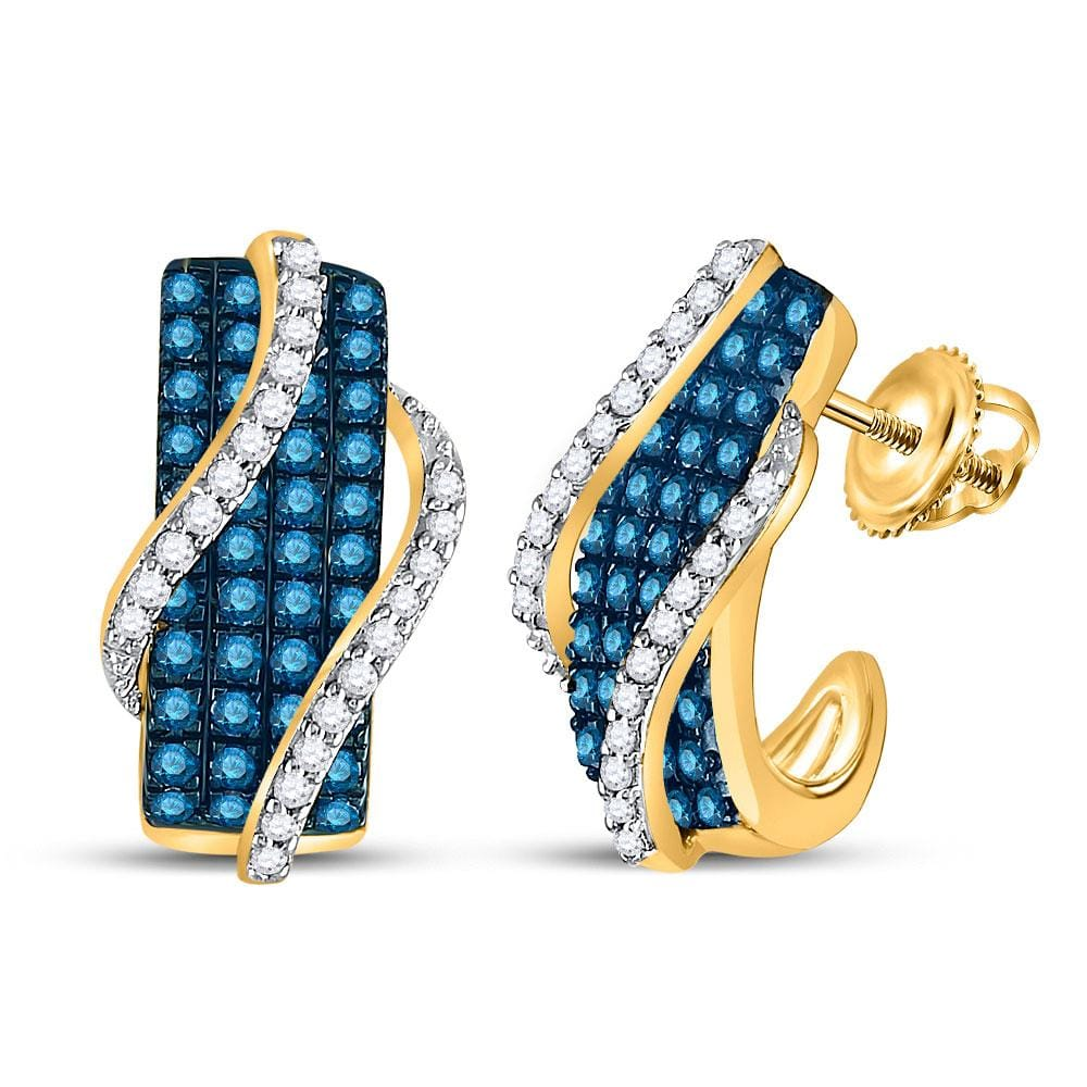 10kt Yellow Gold Womens Round Blue Color Enhanced Diamond Half J Hoop Earrings 1 Cttw