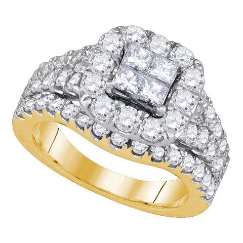 14kt Yellow Gold Womens Princess Diamond Cluster Halo Bridal Wedding Engagement Ring 2-1/2 Cttw