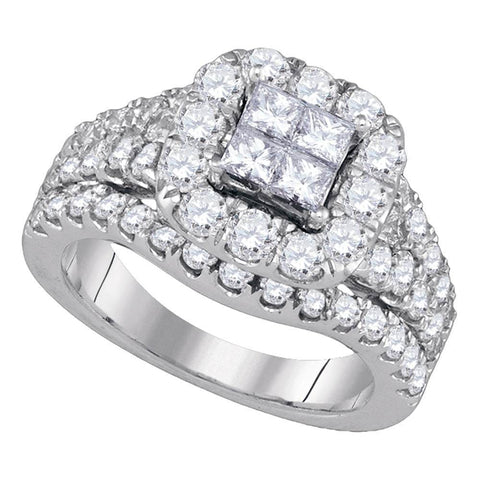 14kt White Gold Womens Princess Diamond Cluster Halo Bridal Wedding Engagement Ring 2-1/2 Cttw