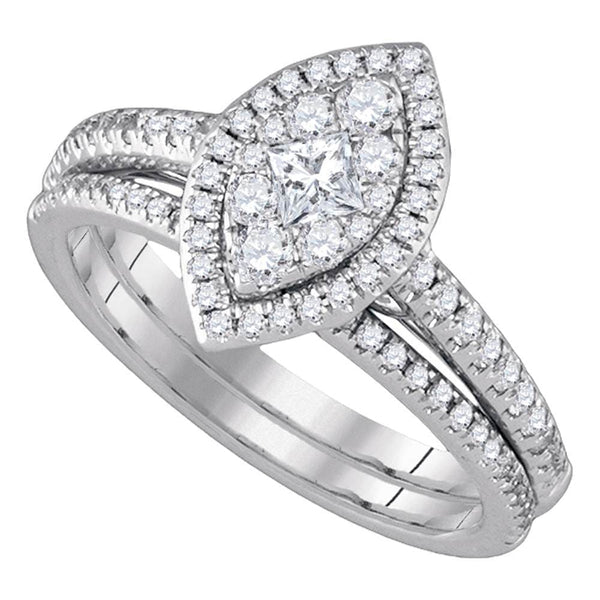 14kt White Gold Womens Princess Diamond Marquise-shape Cluster Bridal Wedding Engagement Ring Band Set 3/4 Cttw