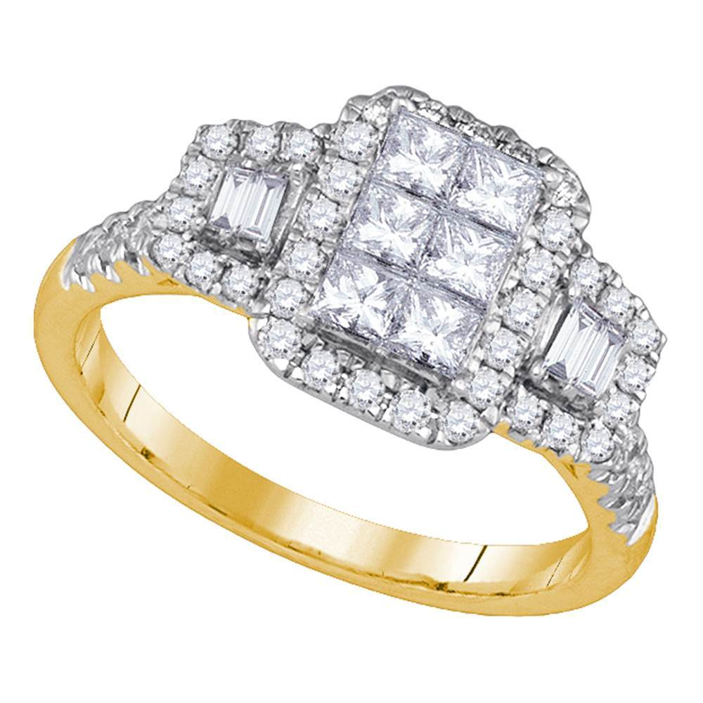 14kt Yellow Gold Womens Princess Diamond Rectangle Cluster Bridal Ring 1.00 Cttw