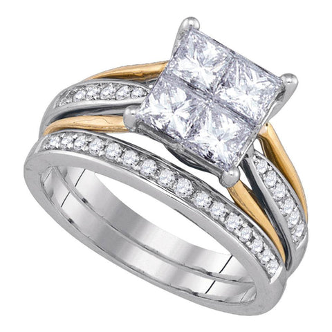 14k White Gold Womens Princess Diamond 2-tone Bridal Wedding Engagement Ring Band Set 2.00 Cttw