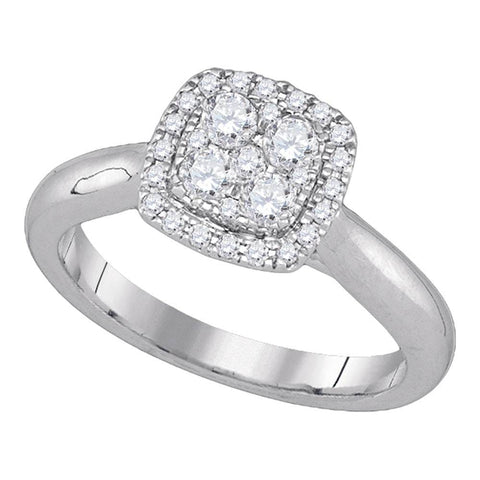 14kt White Gold Womens Round Diamond Cluster Bridal Wedding Engagement Ring 1/2 Cttw