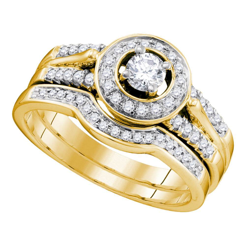 14kt Yellow Gold Womens Diamond Round Bridal Wedding Engagement Ring Band Set 1/2 Cttw