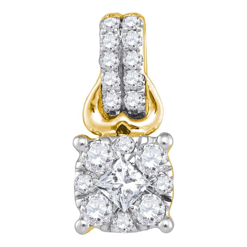 14kt Yellow Gold Womens Princess Diamond Cluster Fashion Pendant 1/2 Cttw
