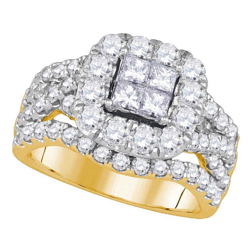 14kt Yellow Gold Womens Princess Diamond Cluster Halo Twist Bridal Wedding Engagement Ring 2-1/2 Cttw