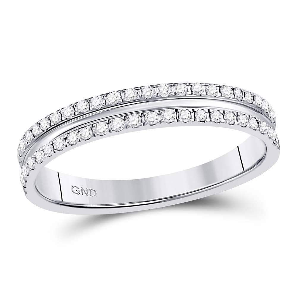 14kt White Gold Womens Round Diamond Double Row Comfort Wedding Band 1/4 Cttw