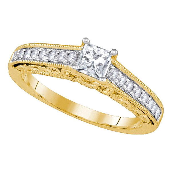 14kt Yellow Gold Womens Round Diamond Solitaire Bridal Wedding Engagement Ring 5/8 Cttw