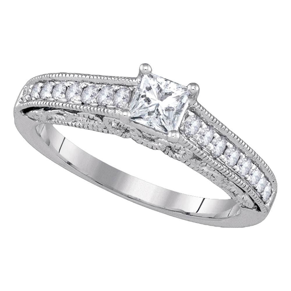 14kt White Gold Womens Princess Diamond Solitaire Bridal Wedding Engagement Ring 5/8 Cttw