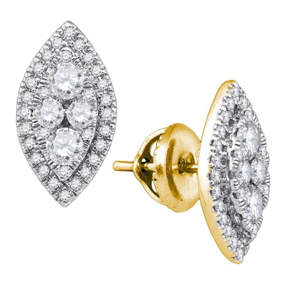 14kt Yellow Gold Womens Round Diamond Oval Frame Cluster Stud Earrings 5/8 Cttw