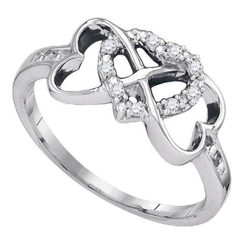 Sterling Silver Womens Round Diamond Triple Heart Love Ring 1/12 Cttw