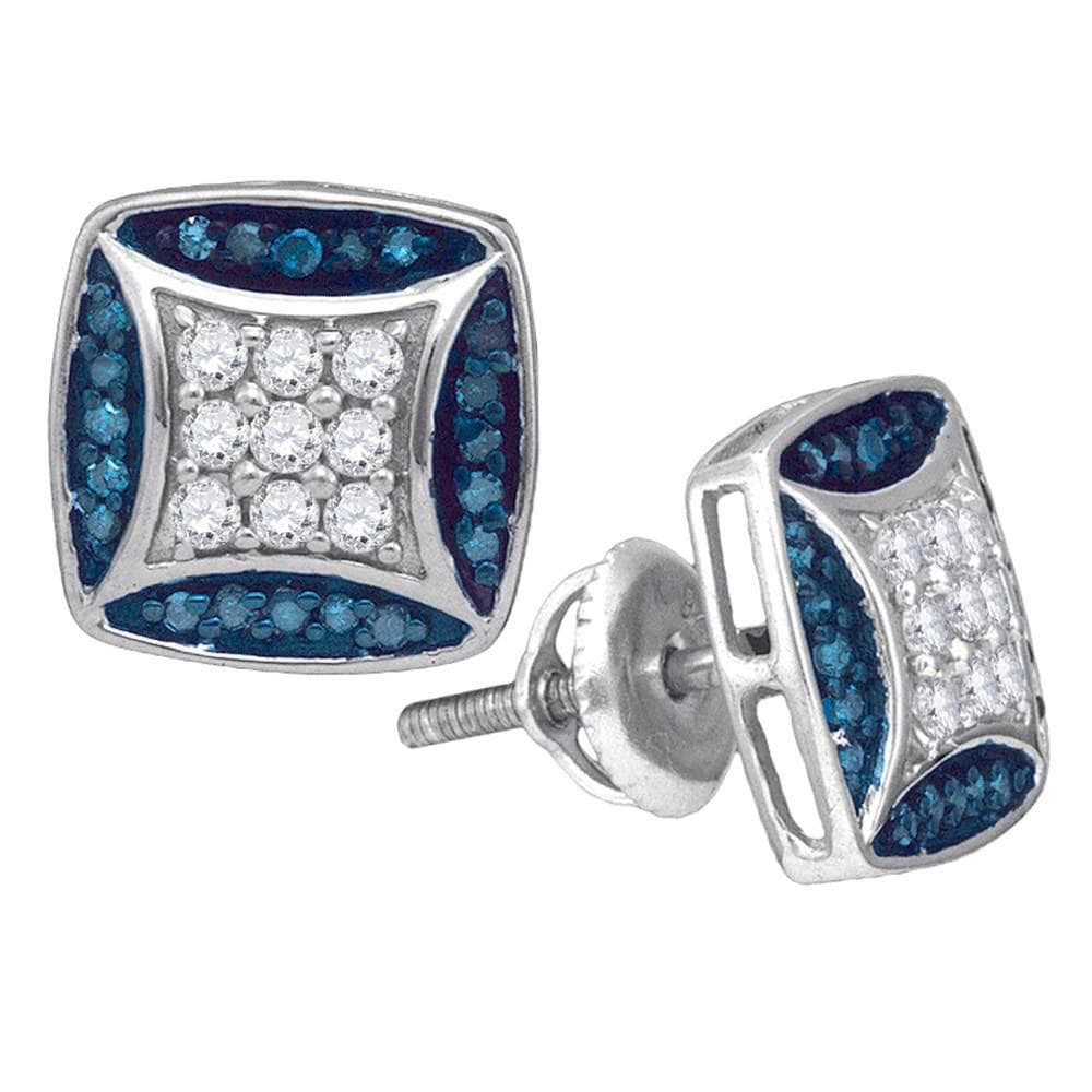 10kt White Gold Womens Round Blue Color Enhanced Diamond Square Cluster Stud Earrings 1/2 Cttw