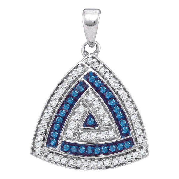 10kt White Gold Womens Round Blue Color Enhanced Diamond Triangle Pendant 1/3 Cttw