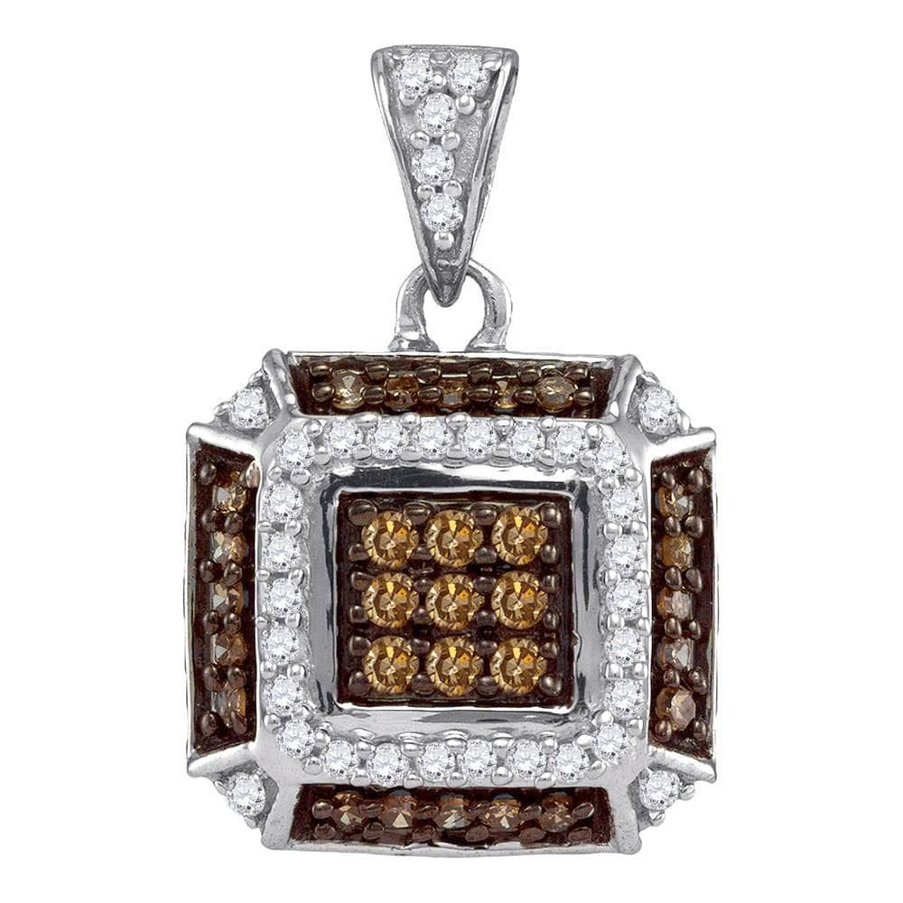 10kt White Gold Womens Round Brown Color Enhanced Diamond Square Pendant 1/2 Cttw