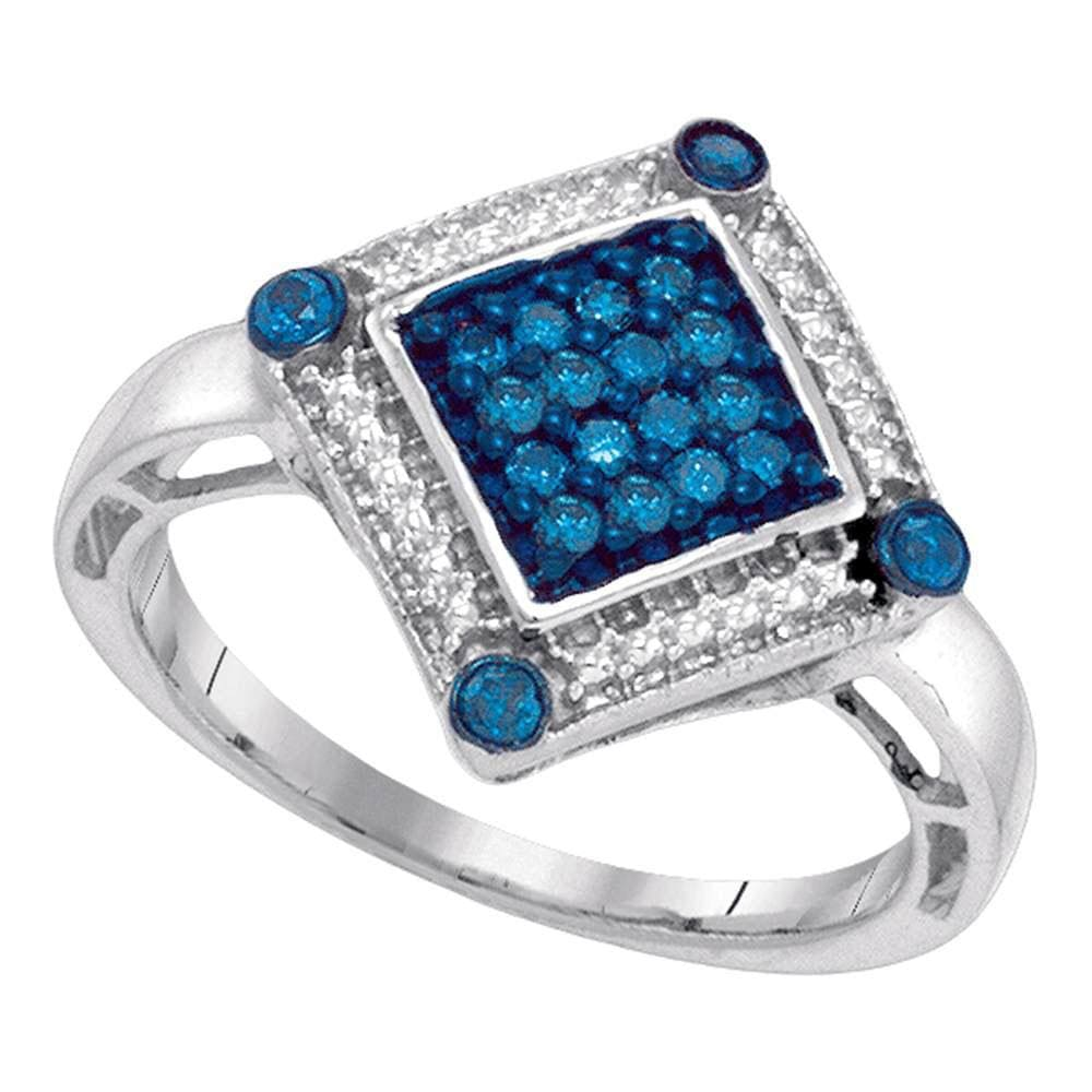10kt White Gold Womens Round Blue Color Enhanced Diamond Square Ring 1/4 Cttw