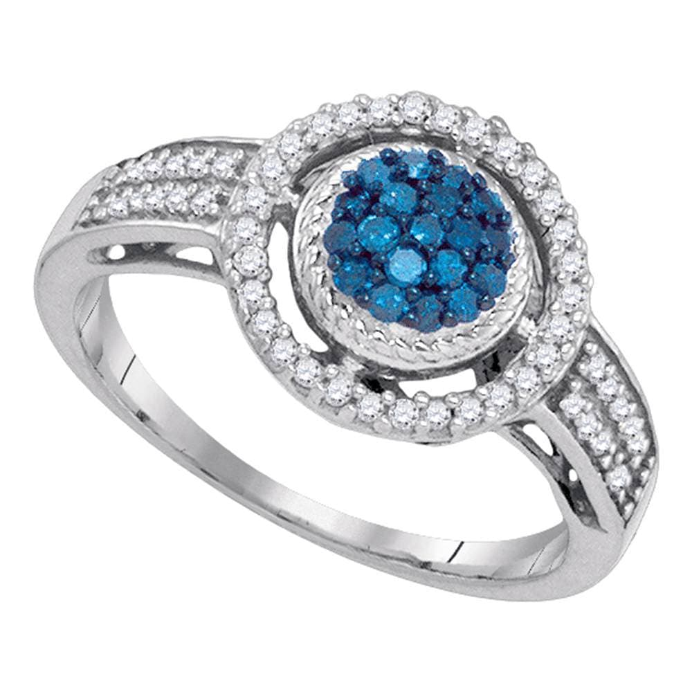 10kt White Gold Womens Round Blue Color Enhanced Diamond Circle Frame Cluster Ring 1/3 Cttw