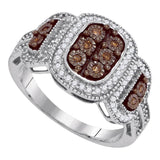 10kt White Gold Womens Round Cognac-brown Color Enhanced Diamond Cluster Ring 1/3 Cttw