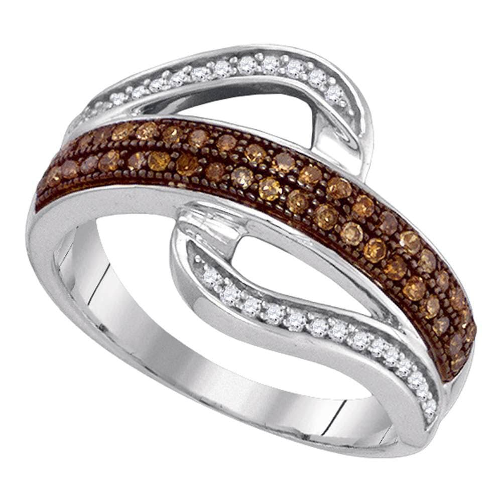 10kt White Gold Womens Round Brown Color Enhanced Diamond Curved Band Ring 1/3 Cttw