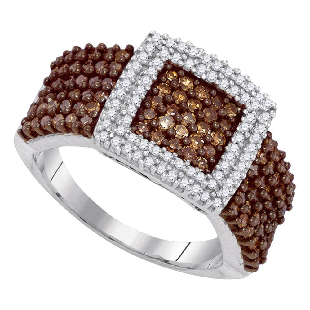10kt White Gold Womens Round Brown Color Enhanced Diamond Square Cluster Ring 1.00 Cttw