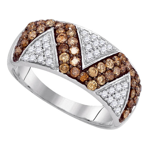 10kt White Gold Womens Round Brown Color Enhanced Diamond Zigzag Band Ring 7/8 Cttw