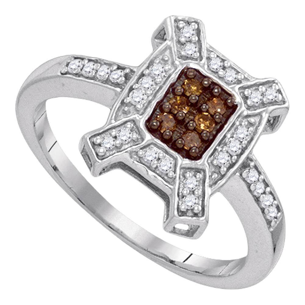 10kt White Gold Womens Round Cognac-brown Color Enhanced Diamond Square Ring 1/5 Cttw