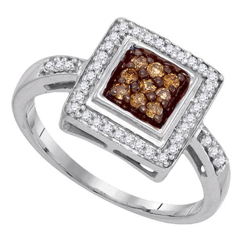 10kt White Gold Womens Round Cognac-brown Color Enhanced Diamond Square Frame Cluster Ring 1/4 Cttw
