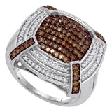 10kt White Gold Womens Round Brown Color Enhanced Diamond Square Cluster Ring 3/4 Cttw