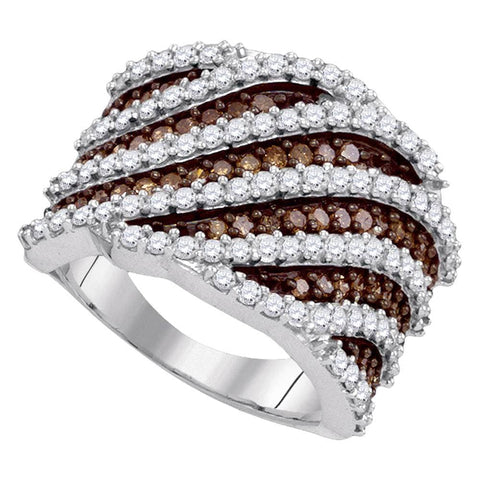 10kt White Gold Womens Round Brown Color Enhanced Diamond Diagonal Stripe Fashion Ring 1-7/8 Cttw