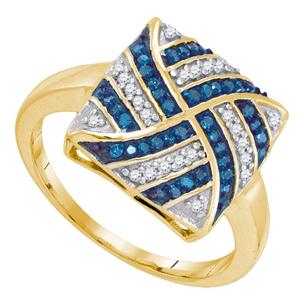 10kt Yellow Gold Womens Round Blue Color Enhanced Diamond Square Pinwheel Cluster Ring 1/4 Cttw