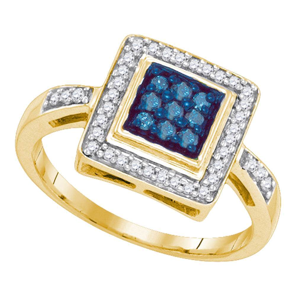 10kt Yellow Gold Womens Round Blue Color Enhanced Diamond Square Frame Cluster Ring 1/4 Cttw